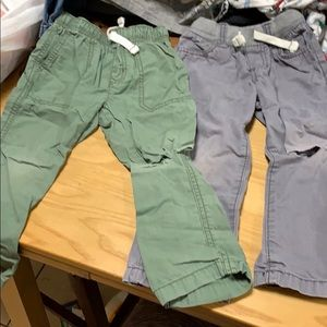 2 Carters Drawstring Pants Grey and Green